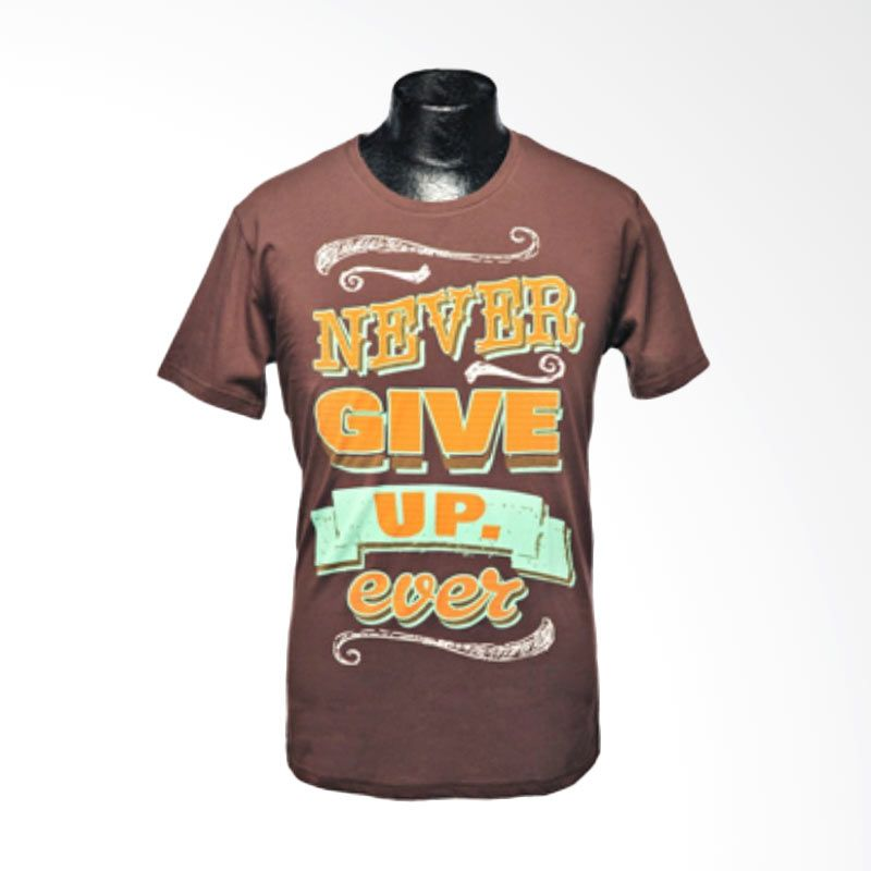 Ncore Never Give Up Ever Coklat Kaos Pria (L)