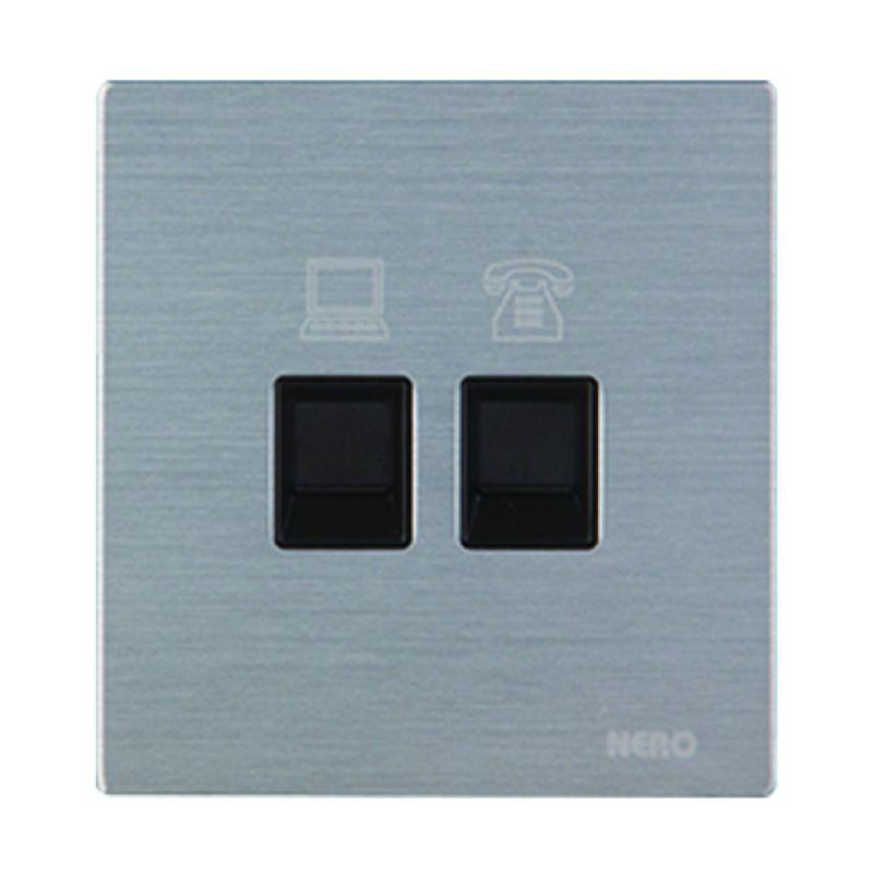 Nero Titanium V10-S V10PHPC-S Silver Telephone & Data Outlet