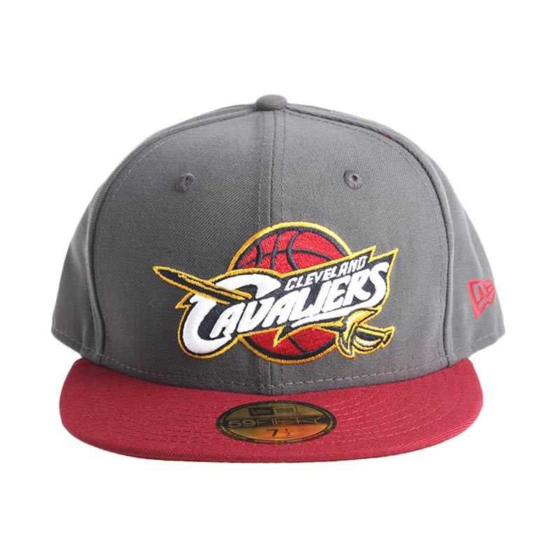 New Era NBA Cleveland Cavaliers Graphite Cardinal 59FIFTY Abu-Abu Topi Basket (70247977)