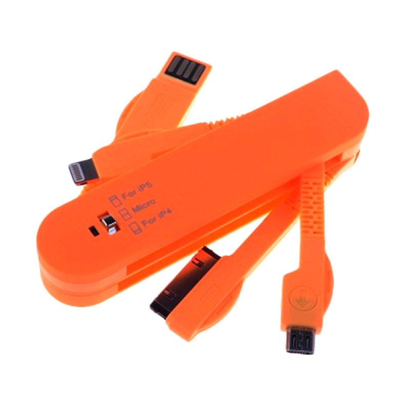 NewTech Swiss Knife 3 in 1 Orange USB Data Cable