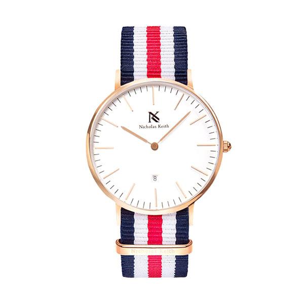 Nicholas Keith Carlton Blue/White/Red NK7005 Jam Tangan Wanita