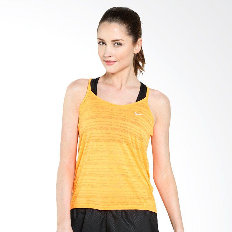 Nike AS DF Cool Breeze 644715-810 Tanktop Baju Olahraga (M) (Bright Citrus, Reflective Silver)