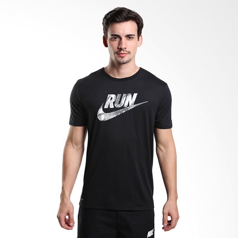 Nike AS Run Printed Swoosh Camo Tee 684010-010 Kaos Lari Pria