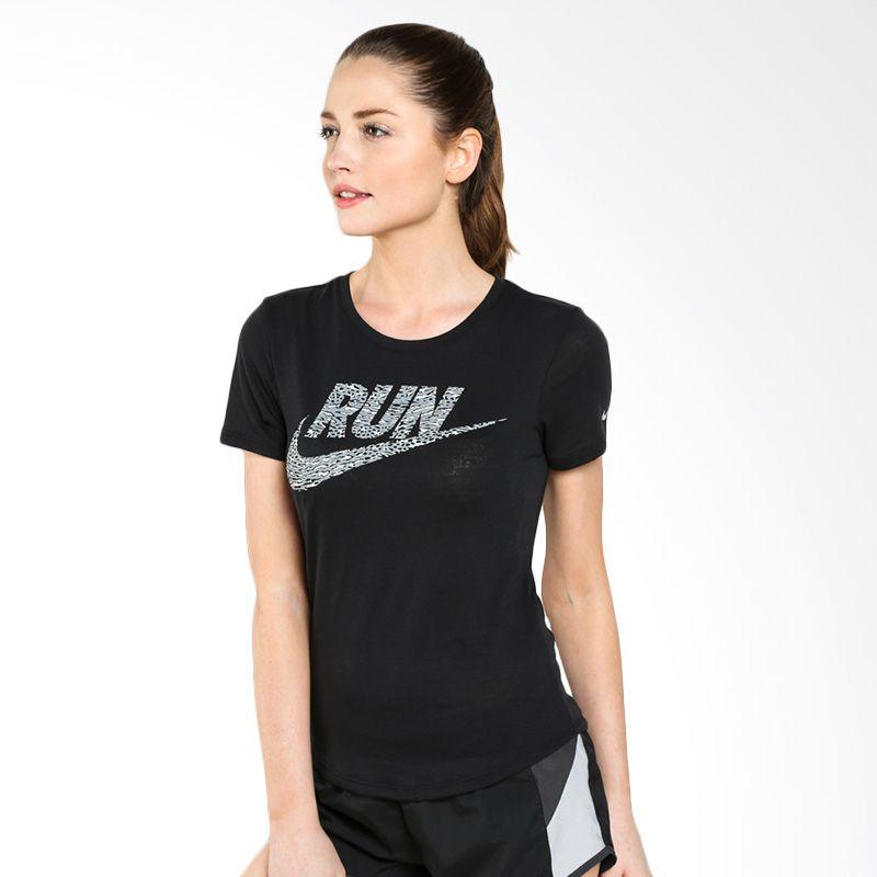 Nike AS Run Printed Swoosh Found Tee 684028-010 Kaos Lari Wanita