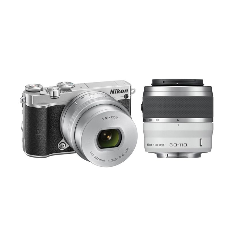Nikon 1 J5 Kit 10-30mm VR PD-Zoom + Nikon 30-110mm VR Kamera Mirrorless - Silver + Free LCD Screen Guard