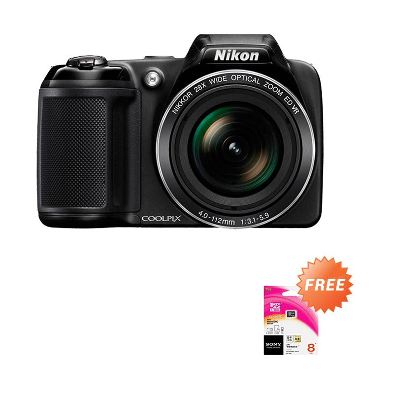 Nikon Coolpix L340 amera Pocket - Hitam [20.2 MP/28x Optical Zoom] + Free Memory Sony 8 GB
