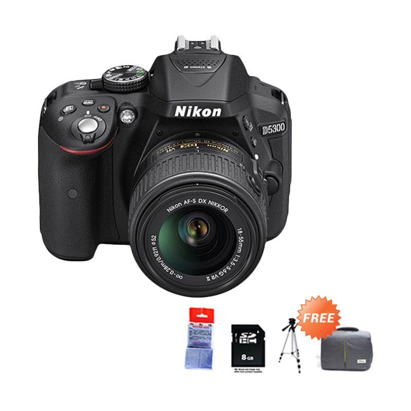 Nikon D5300 Kit 18-55mm VR Hitam Kamera DSLR + SDHC 8 GB + Tripod Promos + Tas DSLRl + Silica Gel