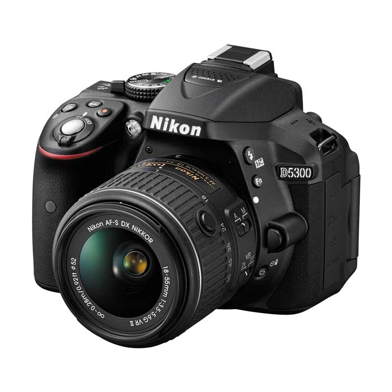 Nikon D5300 Kit 18-55mm VR II Kamera DSLR - Black + Free Memory Sandisk 8 GB + Filter Lensa + Tas + Screen Guard