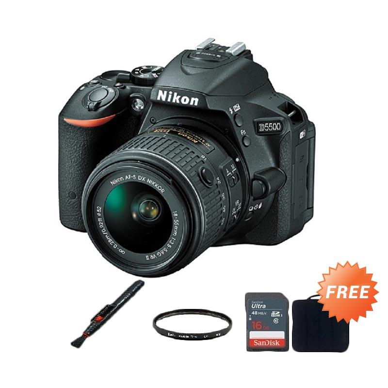 Nikon D5500 18-55mm VR II Kamera DSLR + Free Screen Guard + SDHC 16GB + Filter UV 52mm + Sling Camera Bag + Lenspen