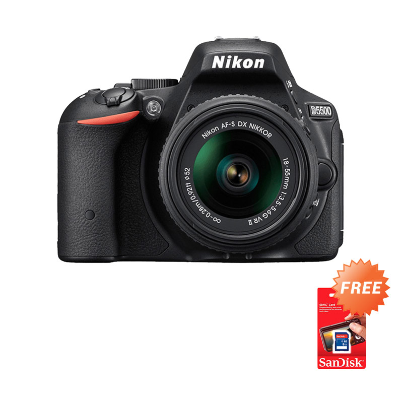 Nikon D5500 Kit 18-55mm VR II Kamera DSLR - Hitam [24.2 MP] + Free Screen Guard + SDHC 16GB + Filter UV 52mm