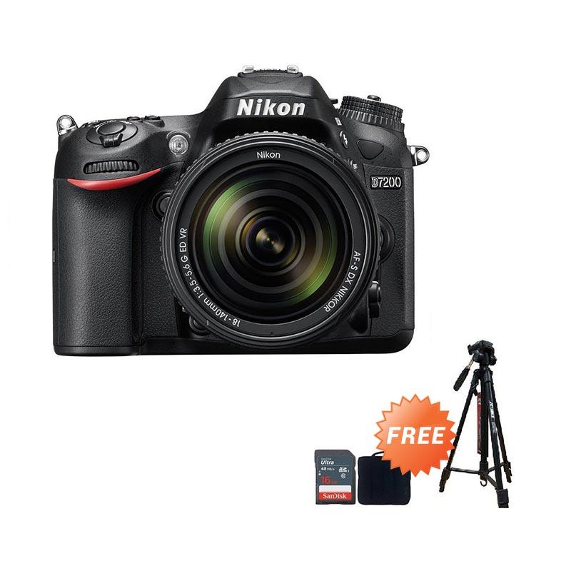 Nikon D7200 Kit AF-P 18-140mm VR + Screen Guard + SDHC 16GB + Filter UV 67mm + Sling Camera Bag + Tripod