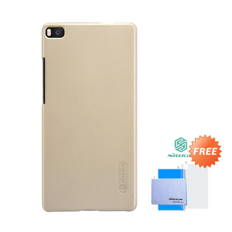Nillkin Frosted Shield Hardcase Gold Casing for Huawei Ascend P8 + Screen Guard