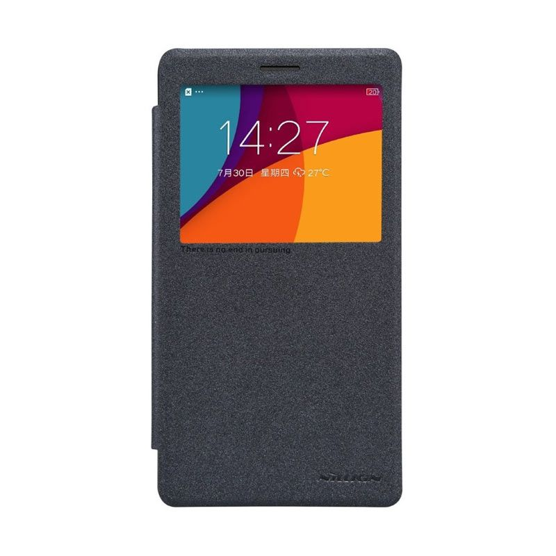 Nillkin Sparkle Metalic Leather Casing Black for Oppo R7 Plus