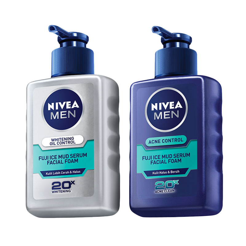 Nivea Men Fuji Ice Mud Series Oil Control Facial Foam 120 mL & Acne Control Serum Facial Foam 120 mL