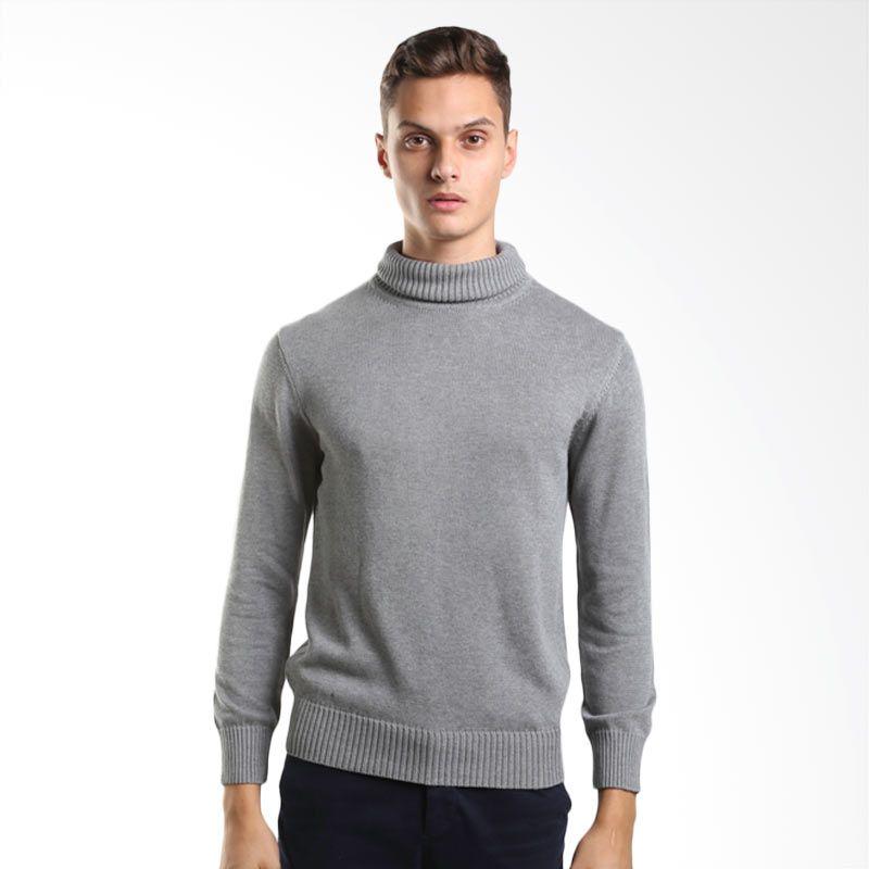 Noir Sur Blanc Men Vettel Rollneck Grey m79 Sweater Pria
