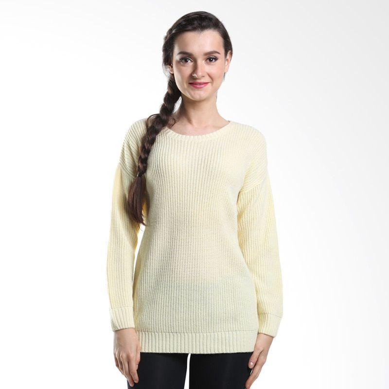 Noir Sur Blanc Krispy O Neck Yellow Sweater Wanita