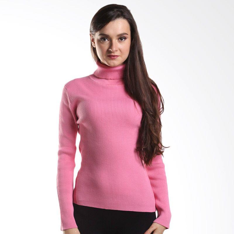 Noir Sur Blanc Np Roll Neck Pink Sweater Wanita