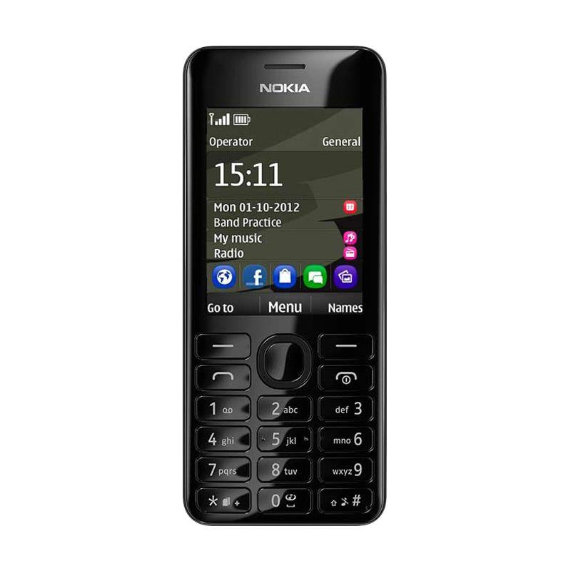 Nokia 206 Black Handphone [Dual SIM]