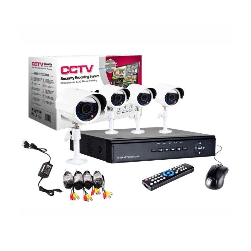 Nordic CCTV 4 Kamera Putih Outdoor & Indoor Security Recording System