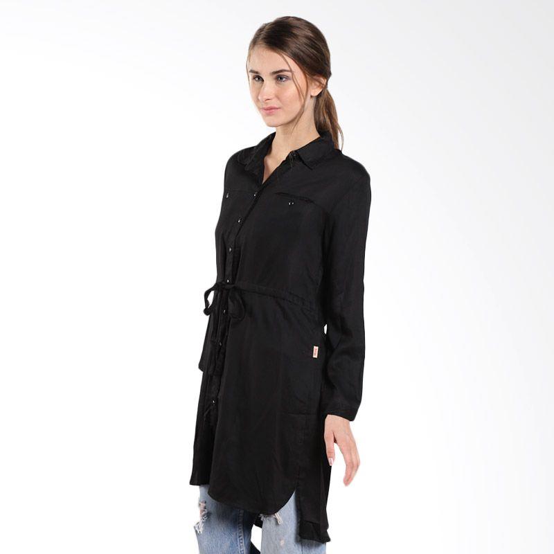 Novel Mice Black Rayon Long Shirt LF 7083262 09.15.02-06 Black Atasan Wanita