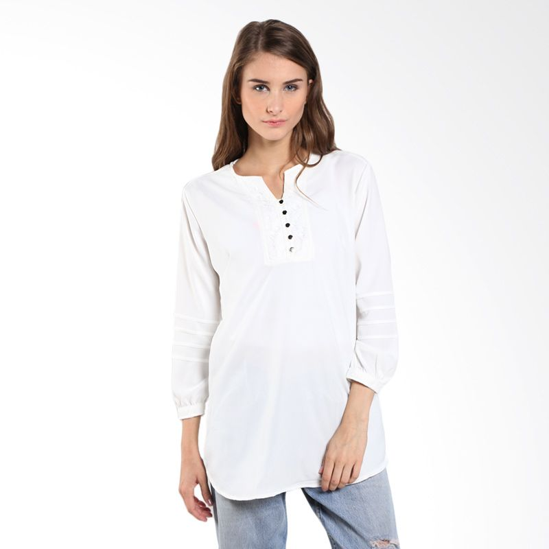Novel Mice VNeck Blouse-LF LB 7073622 06.15.03-07 White Atasan Wanita