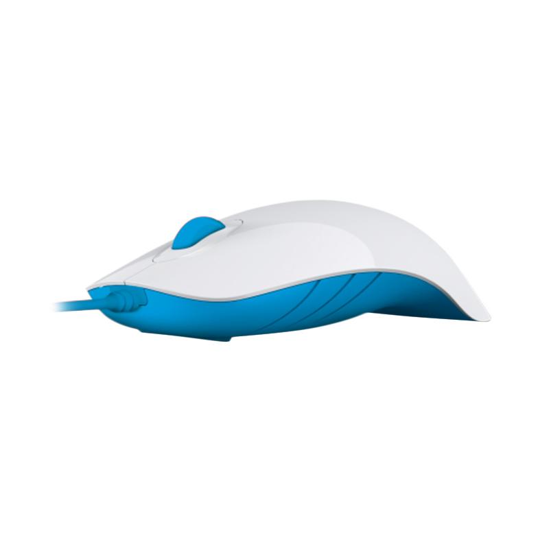 Powerlogic Shark White Blue Mouse USB