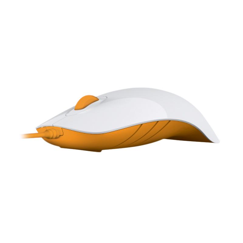 Powerlogic Shark White Orange Mouse USB