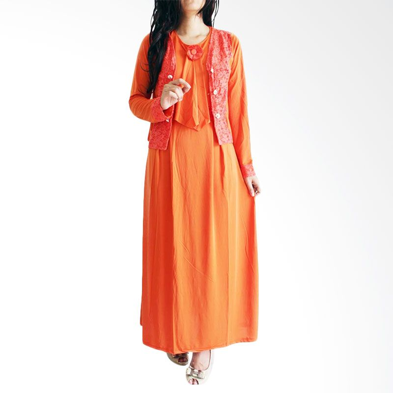 Ofashion Lace Arobah OF-AX3072 Orange Gamis