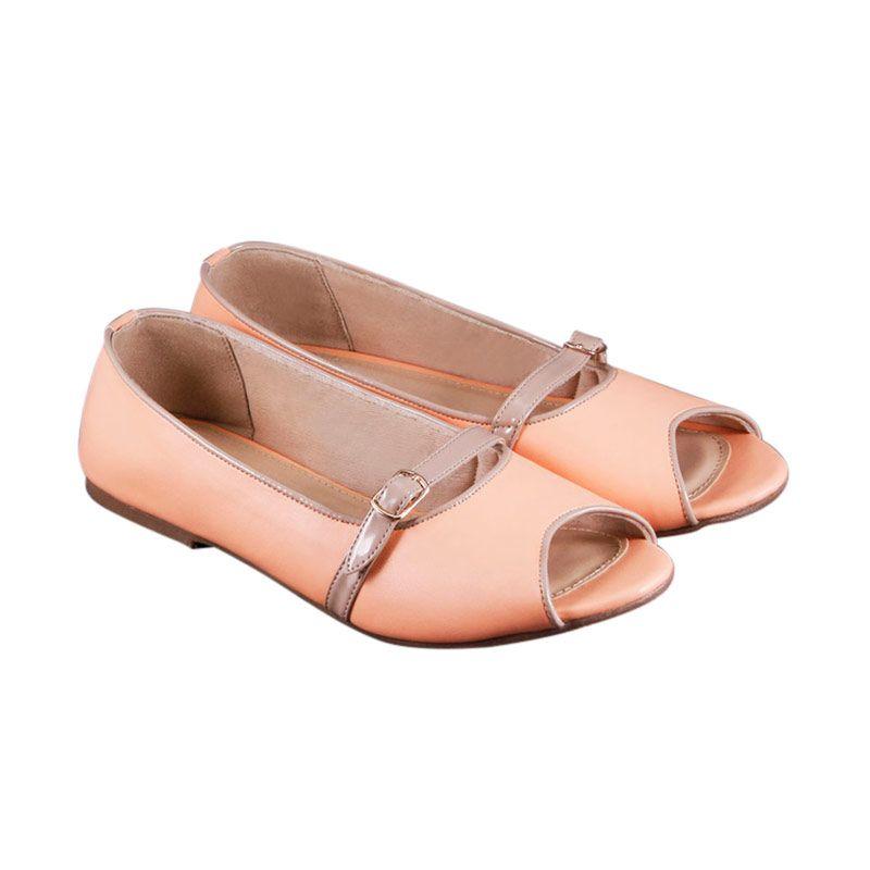 Odette Shoes Nancie Peach Flats Sepatu Wanita