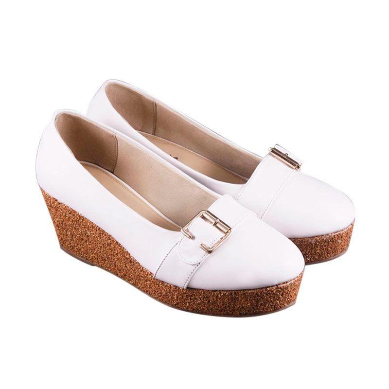 Odette Shoes Afra White Wedges Sepatu Wanita