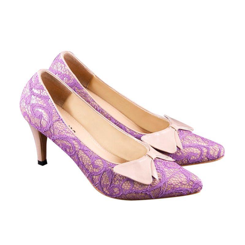 Odette Shoes Emily Purple Lace Sepatu Wanita