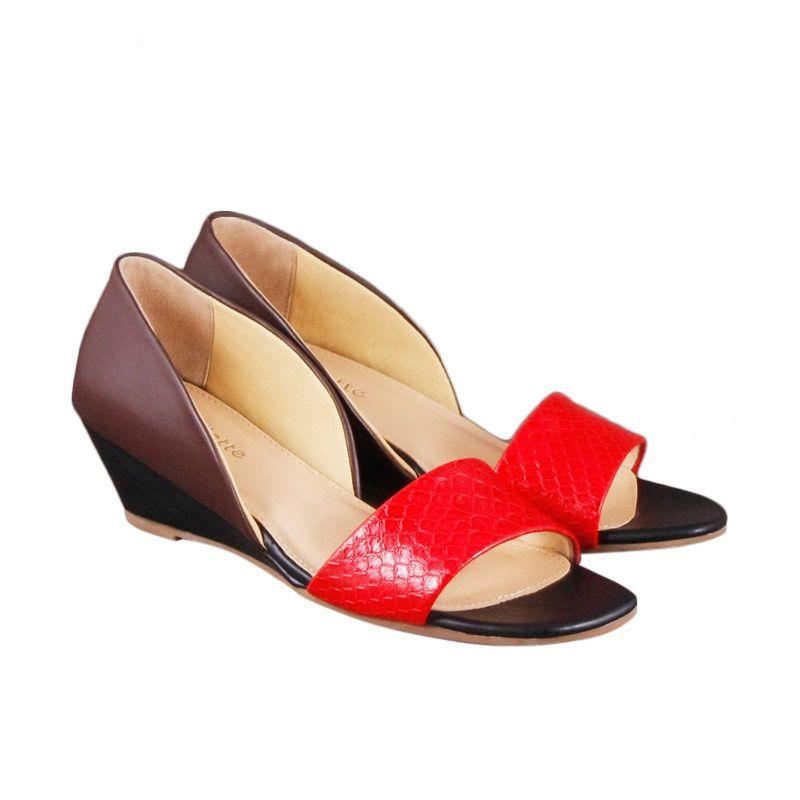 Odette Shoes Meryl Black Wedges Sepatu Wanita