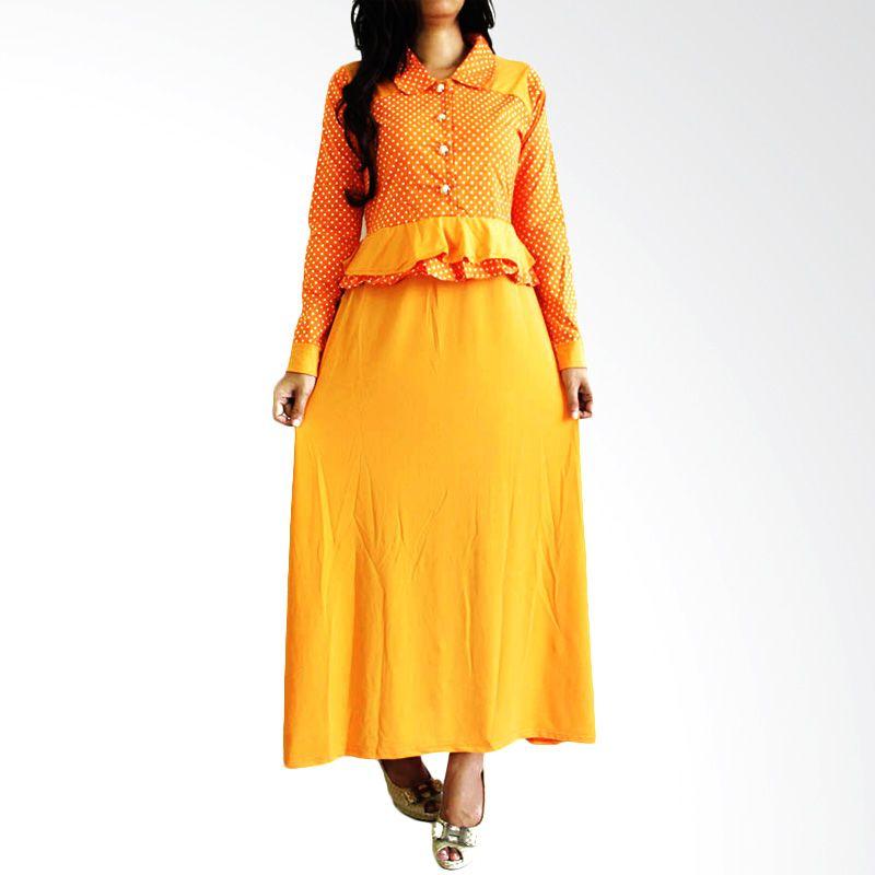 Ofashion Nadira Polka OF-AX-3084 Orange Set Gamis Pakaian Muslimah