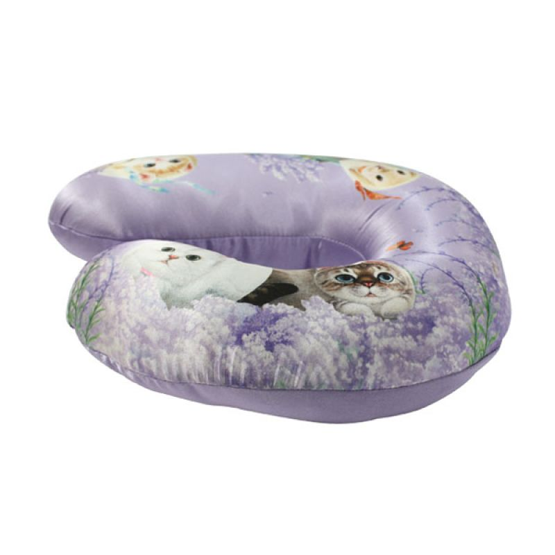 Henry Cats & Friends Lavender In The Wind HNC2-61 Neck Cushion Bantal Mobil