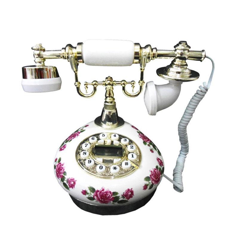 harga Ohome Telepon Antik Bermotif Bunga Classic AN-T047 Dekorasi Rumah Blibli.com