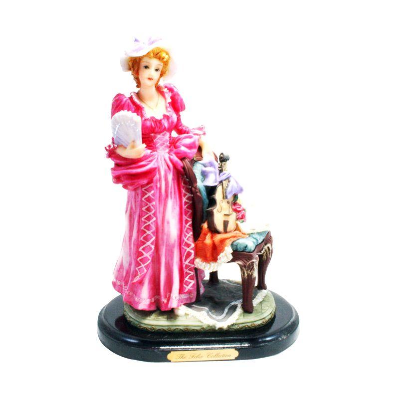 Olday 3D Home Decor EV-SP2027 Vintage Classy Lady in Pink Patung Keramik