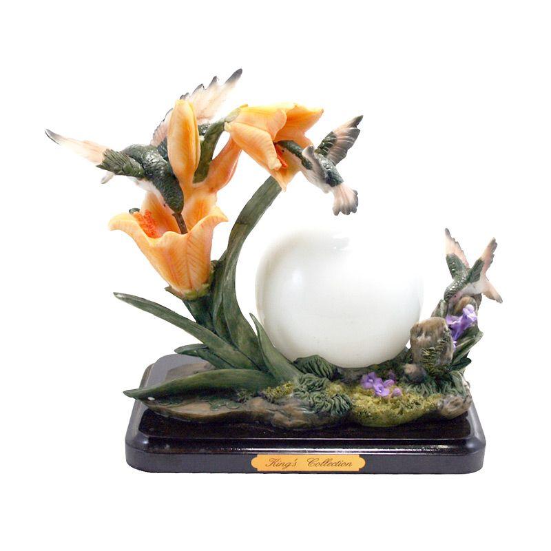 Olday 3D Home Decor EV-SPL2208 Two Birds + Lampu Bulat Patung Keramik