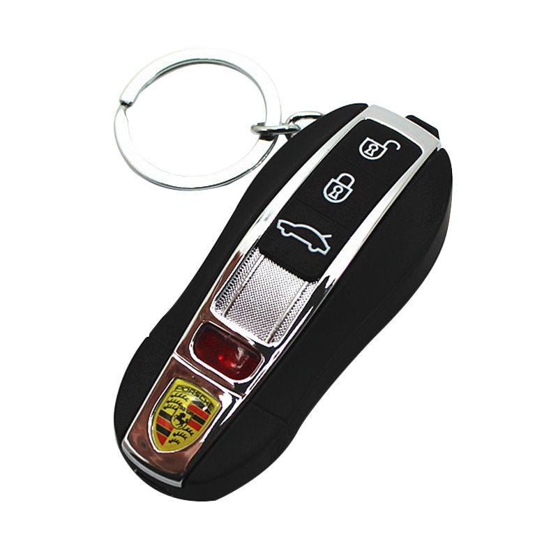 Olday Home Anti Angin Porsche Gantungan Kunci Rechargeable USB TOX Hitam Korek Api