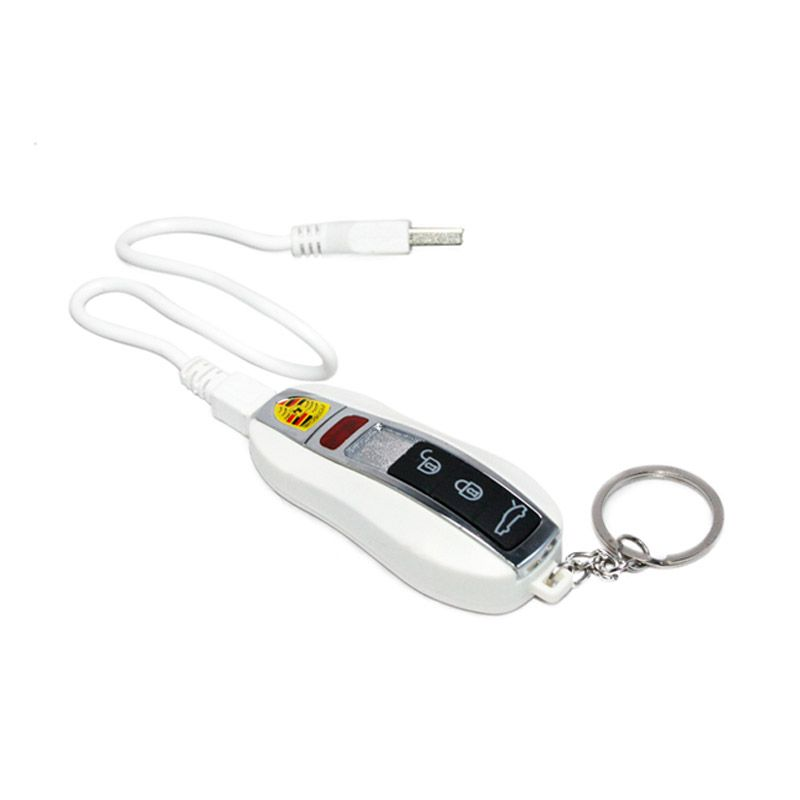 Olday Home Anti Angin Porsche Gantungan Kunci Rechargeable USB TOX Putih Korek Api