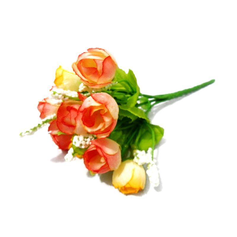 Olday Home ANB000319OK Rose Orange Kuning Bunga Artifisial