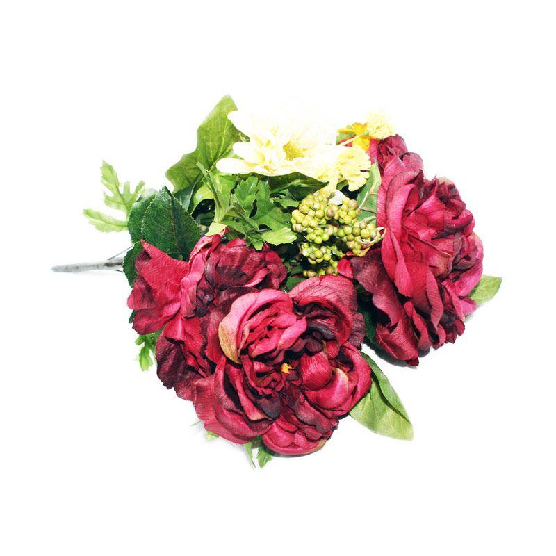 Olday Mawar Piony ANB000350 Merah Bunga Artificial