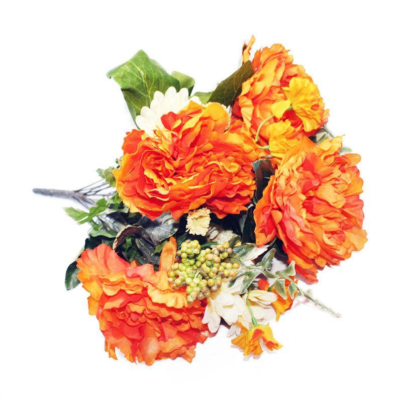 Olday Mawar Piony ANB000350 Orange Bunga Artificial