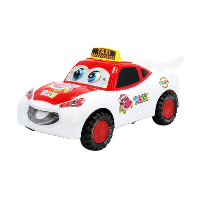 Olday Toys Electric Taxi Car - EV-E704434- White Red Mainan Anak