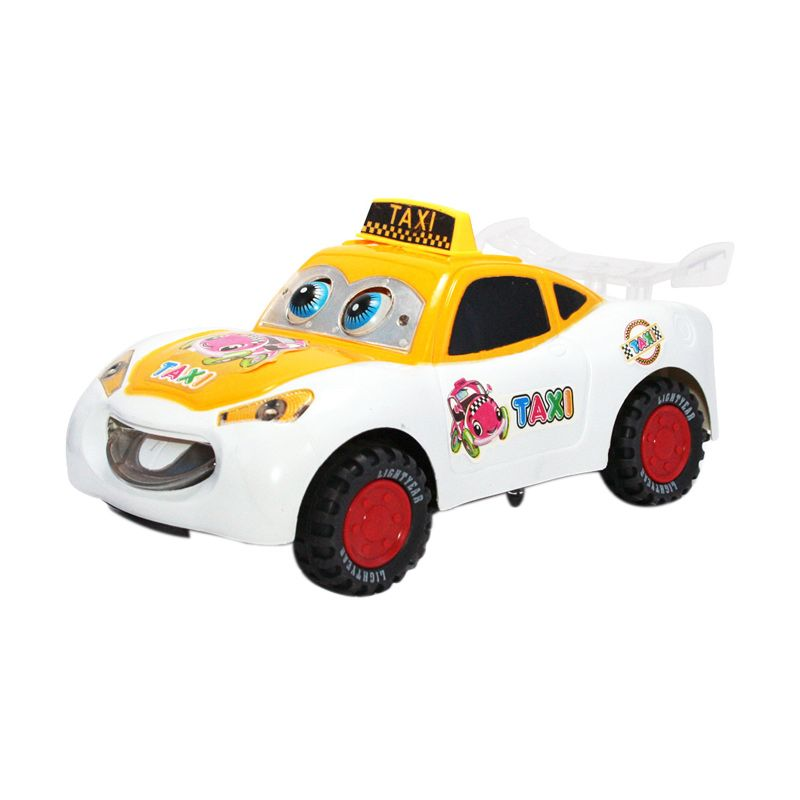 Olday Toys Electric Taxi Car - EV-E704434- White Yellow Mainan Anak