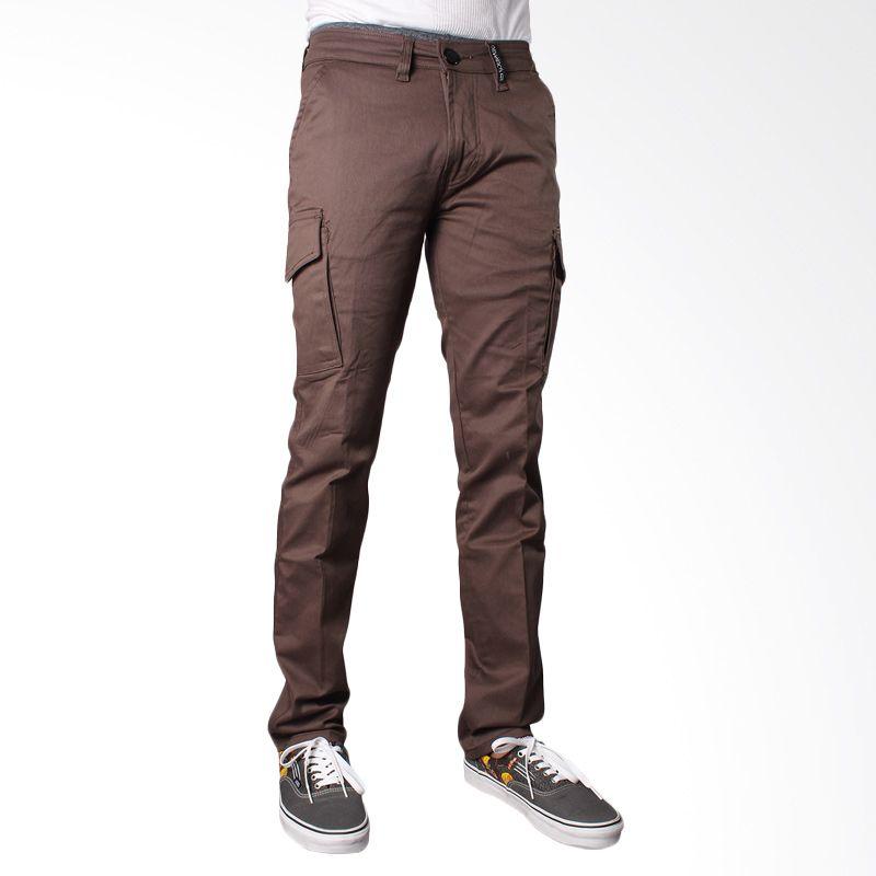 Oliveinch Long Cargo Dark Brown Celana Panjang Pria