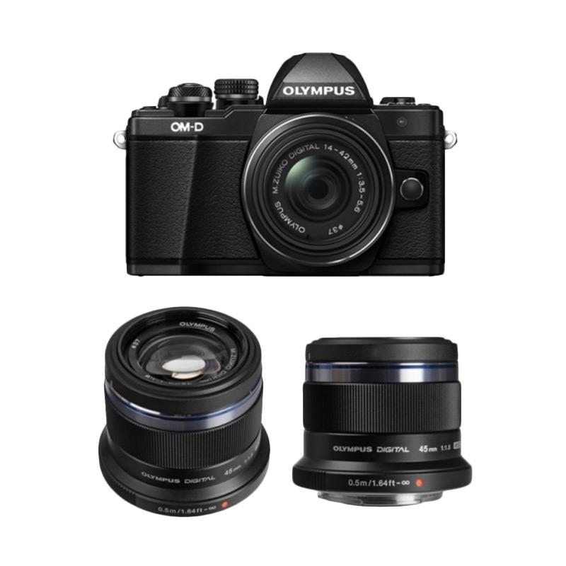 Olympus OM-D E-M10 Mark II Kit 14-42mm EZ + M.Zuiko 45mm Premium Kamera Mirrorless - Black + Free Memory 8GB Class 10 + LCD Screen Guard
