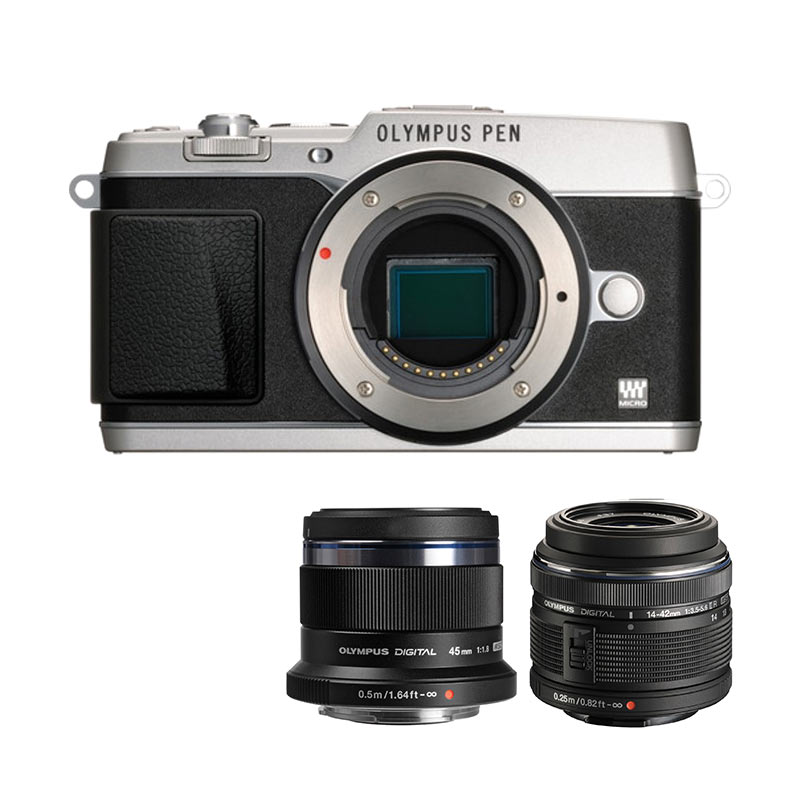 Olympus PEN E-P5 Kit 14-42mm II R + 45mm Premium Kamera Mirrorless - Silver + Free Screen Guard