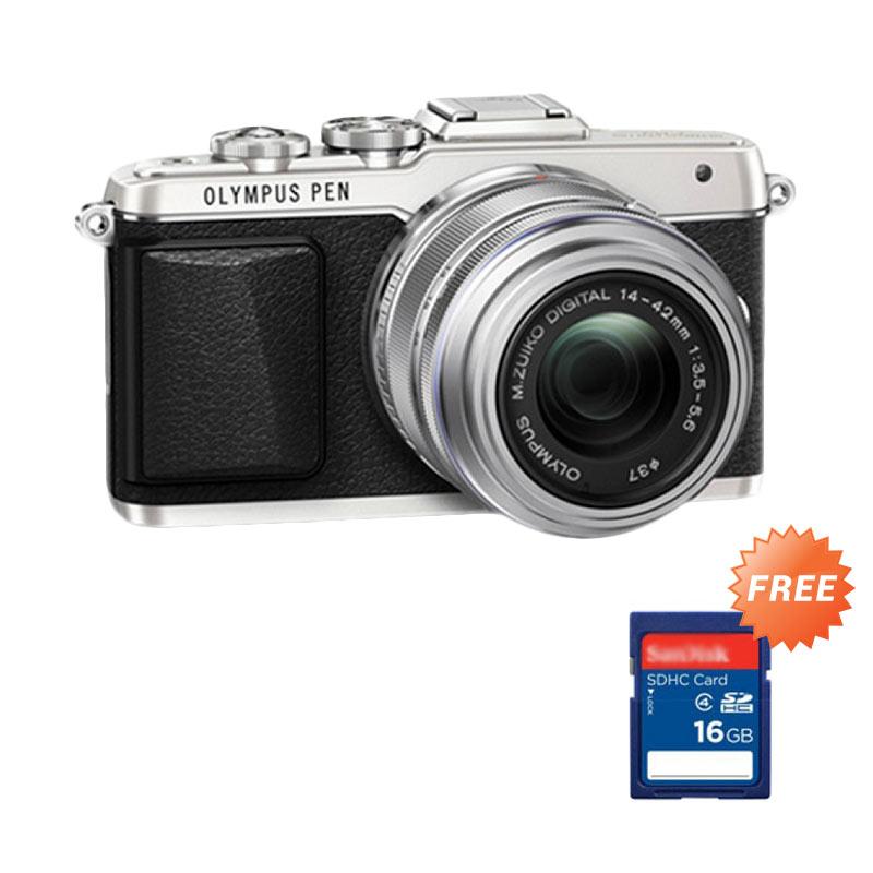 Olympus PEN E-PL7 Kit Lensa 1442R S/G Silver Kamera Mirrorless + SDHC 16 GB CLS 10