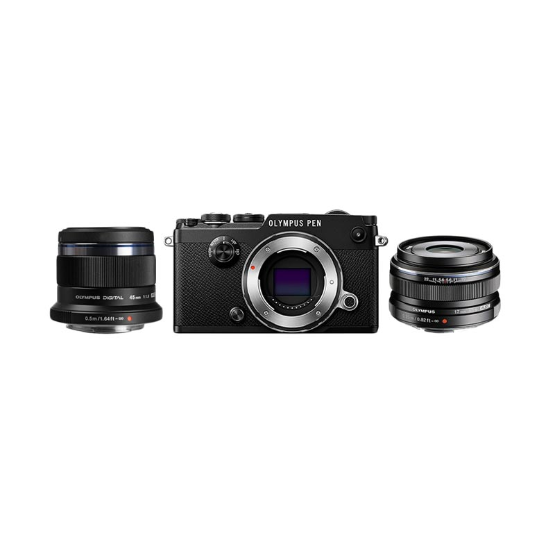 Olympus PEN-F Body Only + M.Zuiko 17mm F1,8 Premium + M.Zuiko 45mm Premium Kamera Mirrorlees - Black + Free LCD Screen Guard