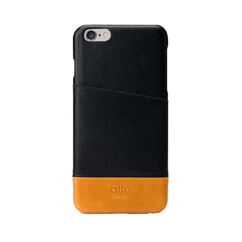 Alto Metro Black Light Brown Leather Casing for iPhone 6